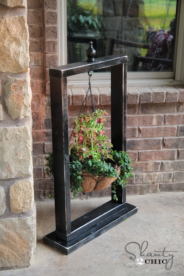 Hanging Basket Wood Stand