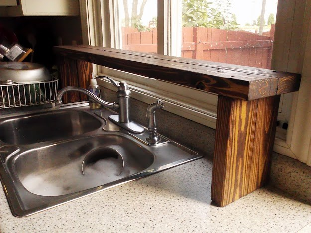 Over-the-sink wood shelf