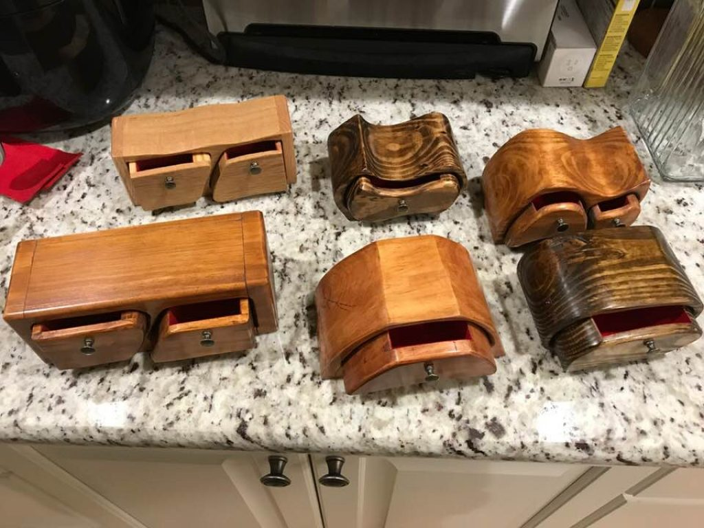 six bandsaw boxes by Edwin