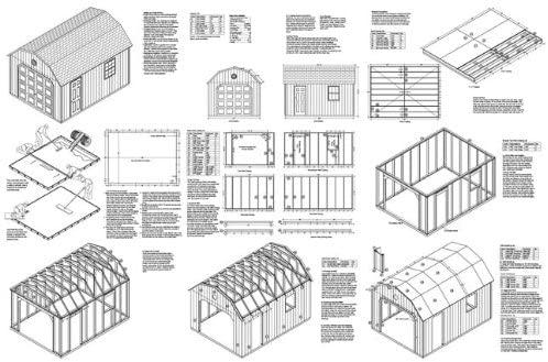 12x16 Gambrel Car Garage Plan