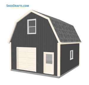 20×24 Gambrel Roof Barn Shed Plan
