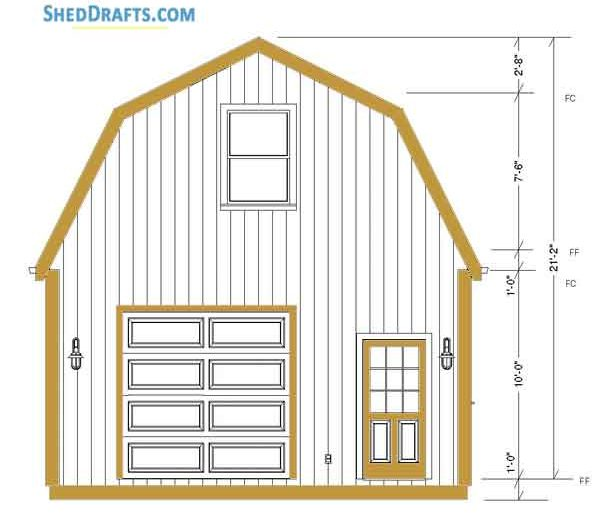 20×24 Gambrel Roof Barn Shed Plan with measurements