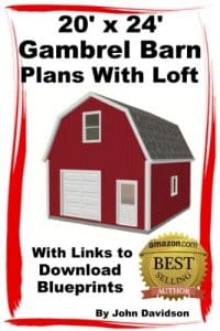 20 x 24 Gambrel Barn Plan With Loft Construction Blueprints
