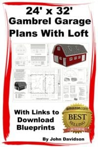24' x 32' x 10' Gambrel Garage Plans With Loft Construction Blueprints