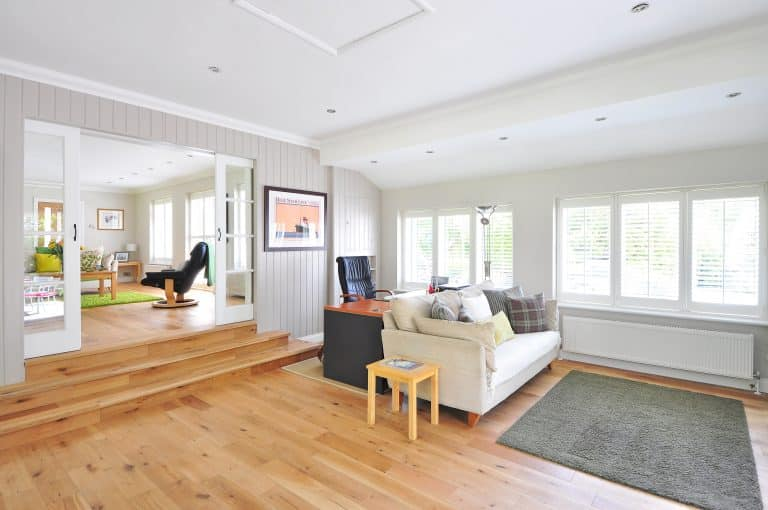 decorated living room with hardwood floor