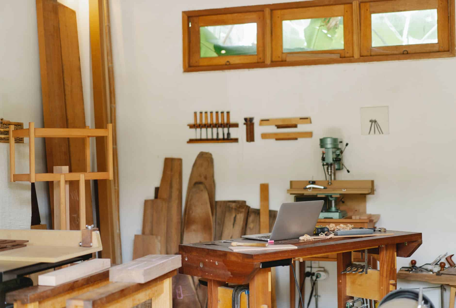 room filled of woodworking tools