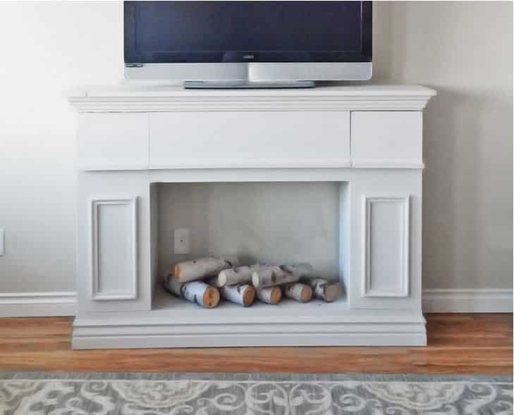 Faux Fireplace Cabinet with Hidden Storage Plan