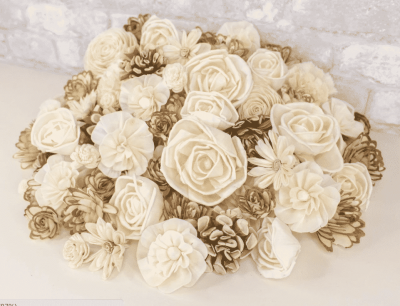 100 random assorted wood flowers
