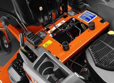lawn mower controls and safety warnings