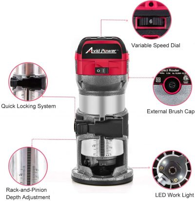 Avid Power 6.5-Amp 1.25 HP Compact Router parts and features