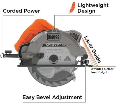 BLACK+DECKER 7-1 4-Inch Circular Saw with Laser, 13-Amp - Features