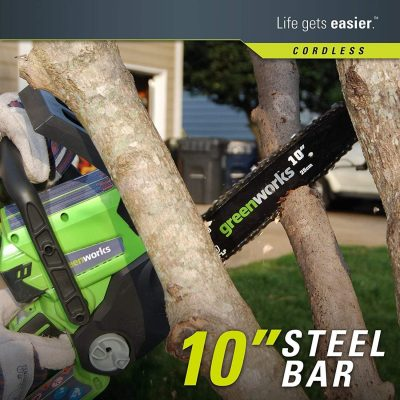 Cutting a tree with Greenworks 10-Inch 24V Cordless Chainsaw