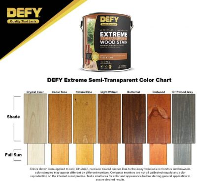 DEFY Extreme 1 Gallon Semi-Transparent Exterior Wood Stain - Color chart