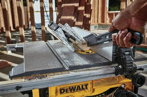 table saw blade and fence