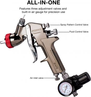 Neiko 31216A HVLP Gravity Feed Air Spray Paint Gun - controls