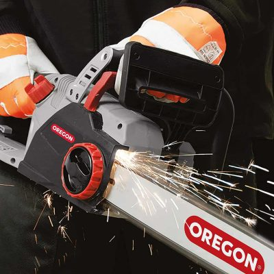 Oregon CS1500 18 in. 15 Amp Self-Sharpening Corded Electric Chainsaw in use