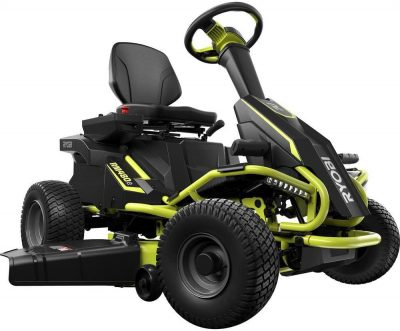 Rear View Ryobi 38 inches Electric Rear Engine Riding Lawn Mower in Green and Black