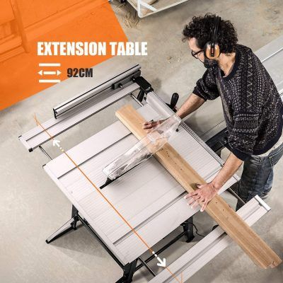 TACKLIFE Table Saw 10-inch with Aluminum Extension Table - in action