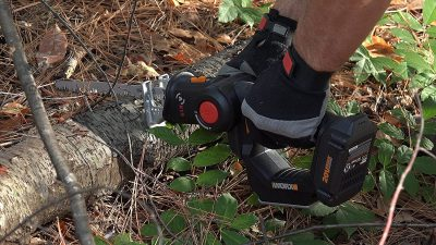 man cutting a tree trunk with WORX WX550L 20V 3