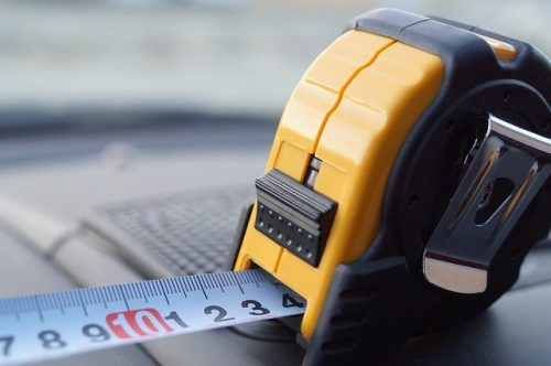 an extended measuring tape