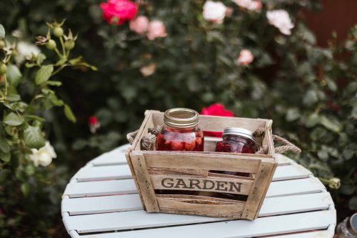 crate with fruit jams