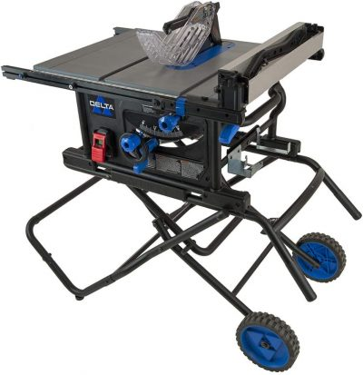 Black and blue table saw by delta
