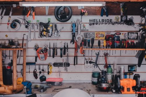 different tools displayed in a garage