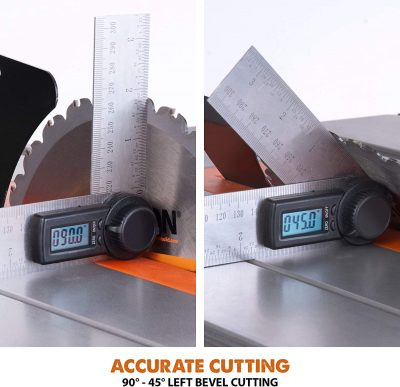 table saw's precise cutting feature