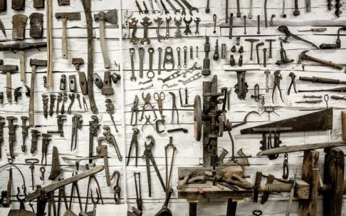 hand tools attached on the wall