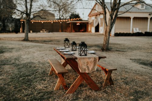 wooden outdoor picnic table