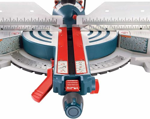 BOSCH GCM12SD miter saw fence, steel scale and meter detent override