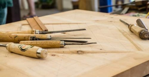 plywood and carving knives