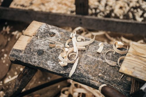 wooden piece with sawdust