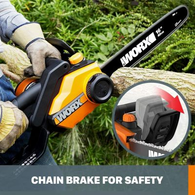 Man operating on WORX WG303.1, 14.5 Amp 16-inch Corded Electric Chainsaw