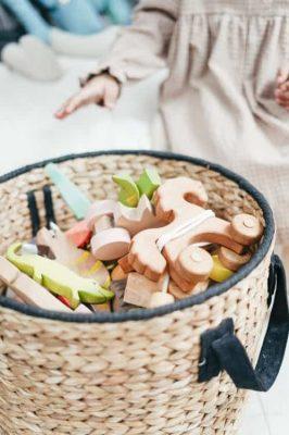 basket full of wooden toys