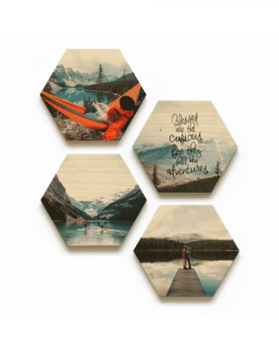 WoodSnap photos printed on a wood coaster set
